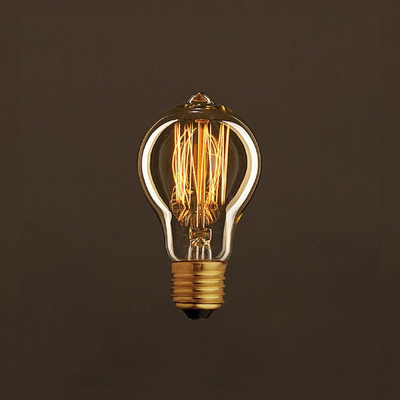 Vintage Golden Light Bulb Drop A60 Carbon Filament Cage 25W E27 Dimmable 2000K
