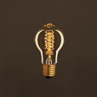 Vintage Golden Light Bulb Drop A60 Carbon Filament Double Spiral Curve 30W E27 Dimmable 2000K