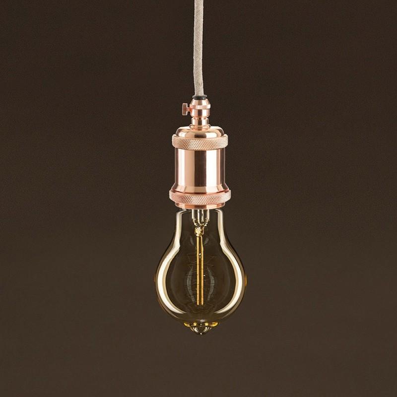 Vintage Golden Light Bulb Drop A60 Carbon Filament Double Spiral Curve 25W E27 Dimmable 2000K