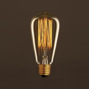 Vintage Golden Light Bulb Edison ST64 Carbon Filament Cage 30W E27 Dimmable 2000K