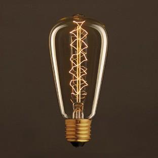 Vintage Golden Light Bulb Edison ST64 Carbon Filament Double Spiral Curve 25W E27 Dimmable 2000K