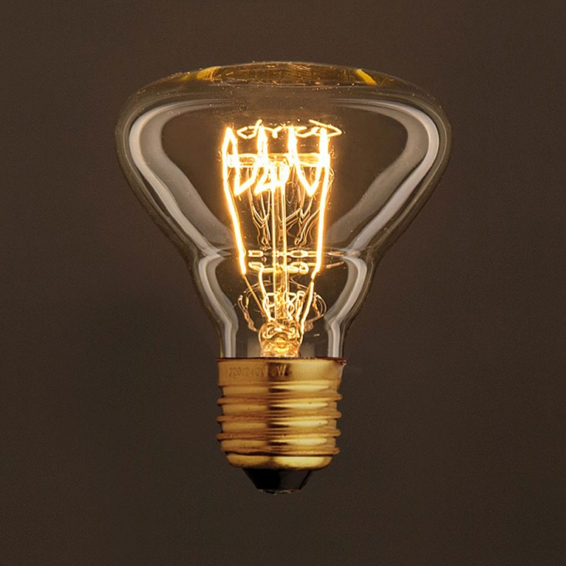 Vintage Golden Light Bulb BR95 Carbon Filament Spiral Curve Horizontal 25W E27 Dimmable 2000K