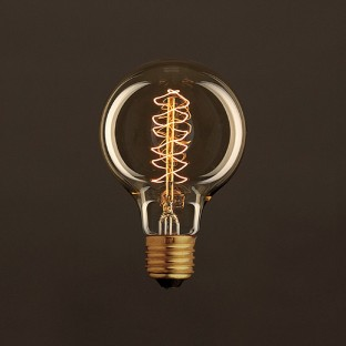 Vintage Golden Light Bulb Globe G80 Carbon Filament Double Spiral Curve 30W E27 Dimmable 2000K