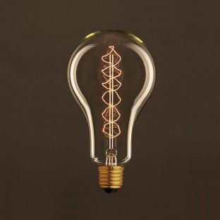 Vintage Golden Light Bulb Drop A95 Carbon Filament Double Spiral Curve 30W E27 Dimmable 2000K
