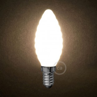LED Milky White Light Bulb - Twisted Candle C35 - 4W E14 Dimmable 2700K