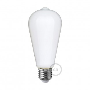LED Milky White Light Bulb - Edison ST64 - 6W E27 Dimmable 2700K