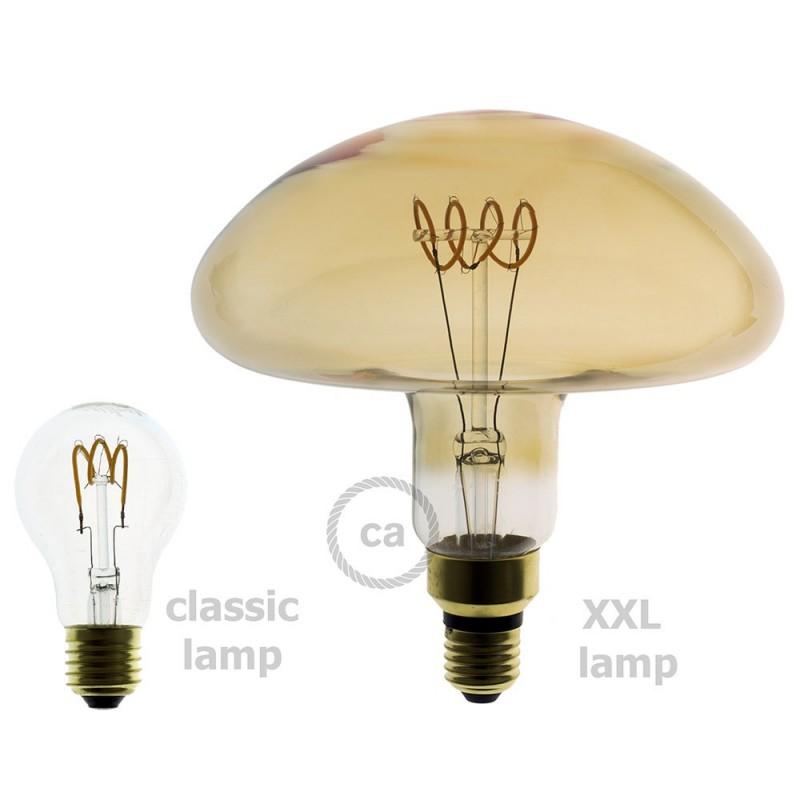 XXL LED Golden Light Bulb - Mushroom Curved Horizontal Spiral Filament - 5W E27 Dimmable 2000K