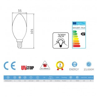 Light bulb Led Olive 4W E14 3000K Frosted