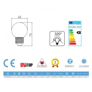 Light bulb Led Sphere 4W E14 3000K Frosted