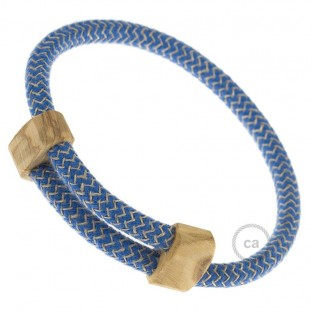 Creative-Bracelet in Cotton and Natural Linen Steward Blue RD75. Wood sliding fastening. Made in Italy.