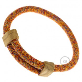 Creative-Bracelet in Cotton Indian Summer RX07. Wood sliding fastening. Made in Italy.