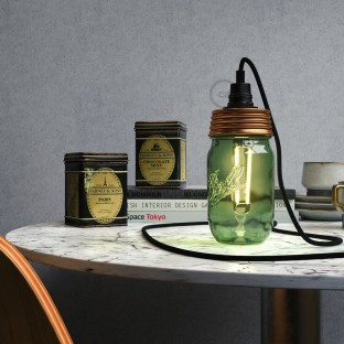 Bronze metal Mason Jar Pendant lighting Kit with cylindrical strain relief and E14 Black bakelite lamp holder