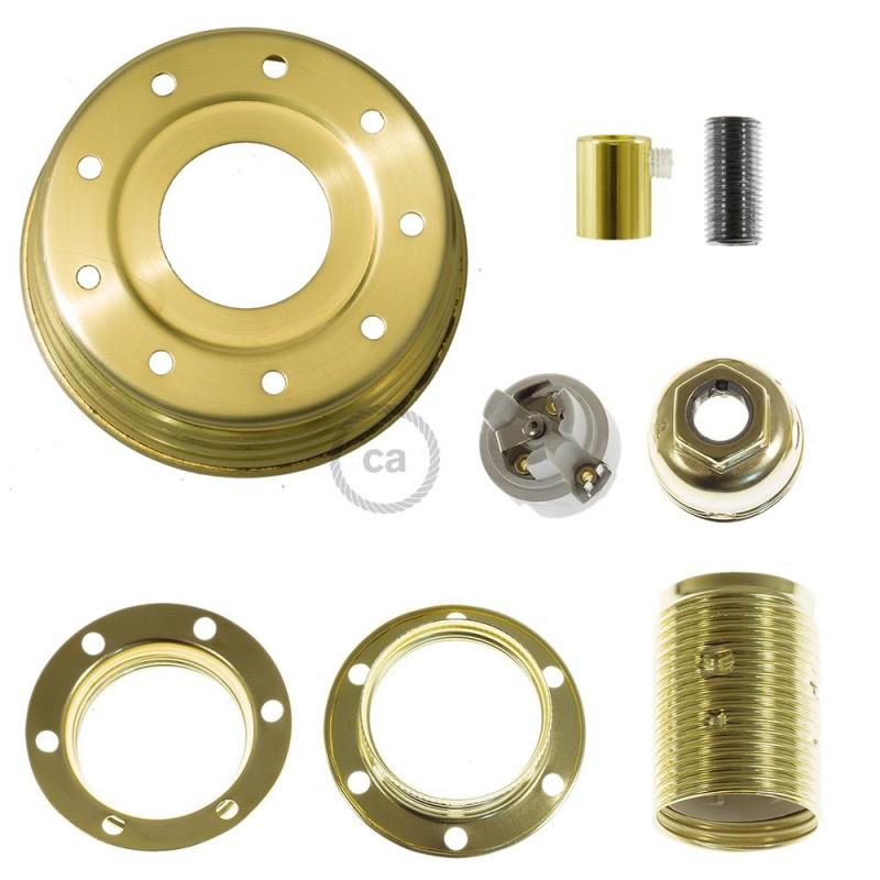 Golden Metal Mason Jar Pendant Lighting Kit With Cylindrical