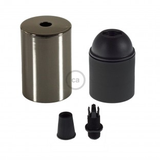 E26 UL Cylinder socket kit with black pearl cap + black cable retainer