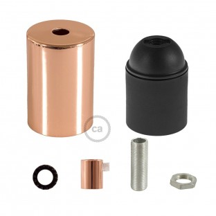 E26 UL Cylinder socket kit with copper finish cap + cylindrical cable retainer