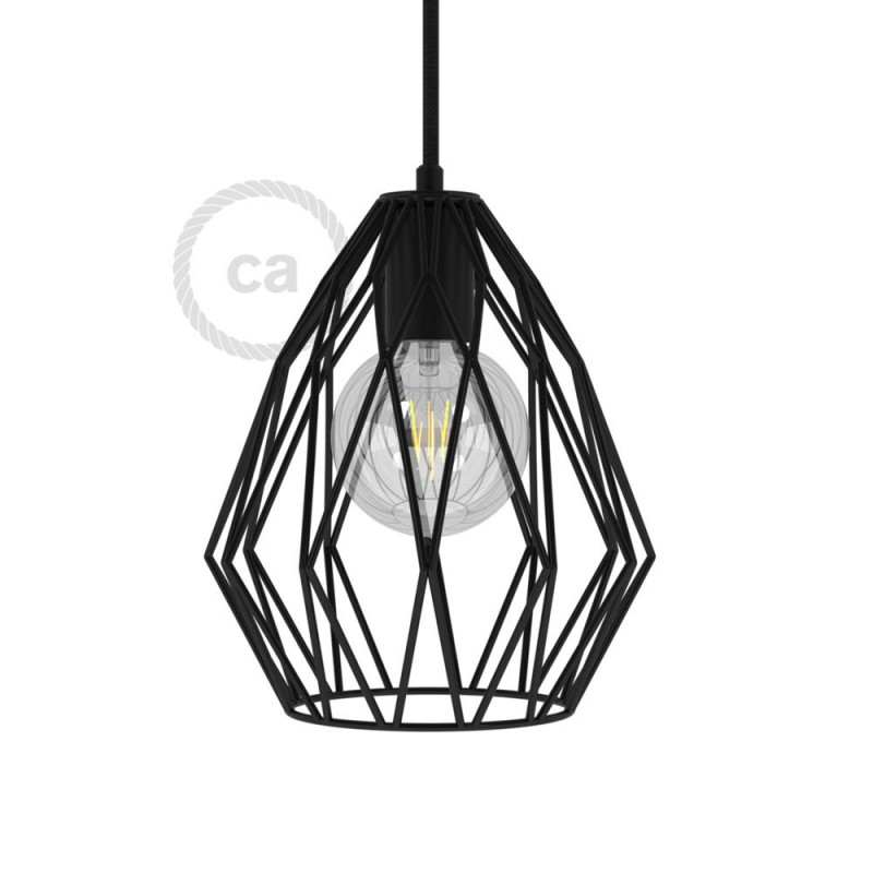 Gem Naked Lampshade - Black metal with E27 lamp holder