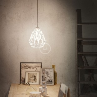 Gem Naked Lampshade - White metal with E27 lamp holder