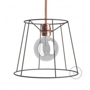 Naked light bulb cage lampshade Cone Burnished colored metal E27 fitting