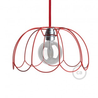 Naked light bulb cage lampshade Flower Red colored metal E27 fitting