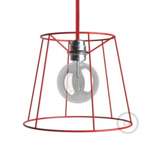 Naked light bulb cage lampshade Cone Red colored metal E27 fitting