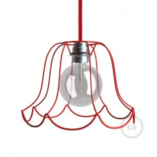 Naked light bulb cage lampshade Susy Red colored metal E27 fitting