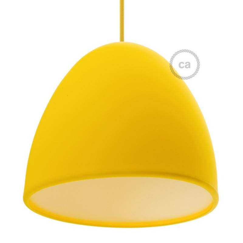 Silicone Lampshade color yellow supplied with diffuser and strain relief. Diameter cm 25.