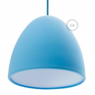 Silicone Lampshade color light blue supplied with diffuser and strain relief. Diameter cm 25.