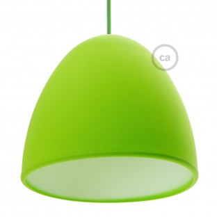 Silicone Lampshade color lime green supplied with diffuser and strain relief. Diameter cm 25.