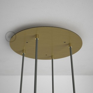 Round 35 cm Satin Brass XXL Ceiling Rose with 4 holes + Accessories