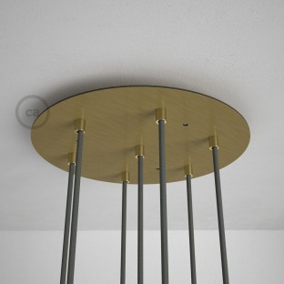 Round 35 cm Satin Brass XXL Ceiling Rose with 7 holes + Accessories