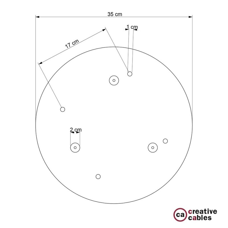 Round 35 cm Satin Steel XXL Ceiling Rose with 4 holes + Accessories