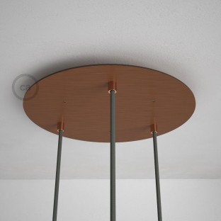 Round 35 cm Satin Copper XXL Ceiling Rose with 3 holes + Accessories
