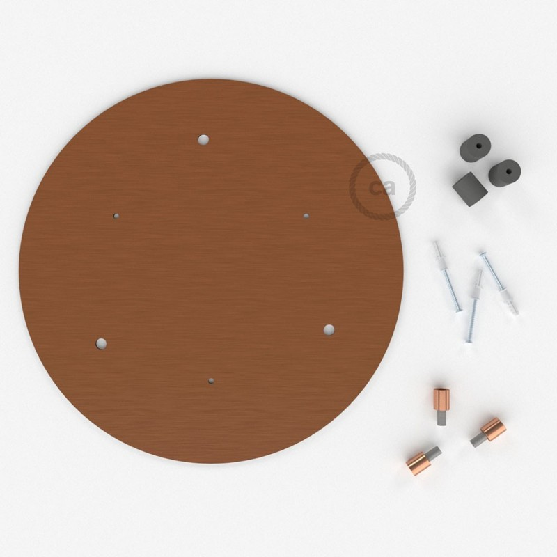 Round 35 Cm Satin Copper Xxl Ceiling Rose With 3 Holes Accessories