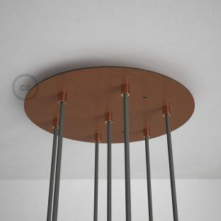Round 35 cm Satin Copper XXL Ceiling Rose with 7 holes + Accessories