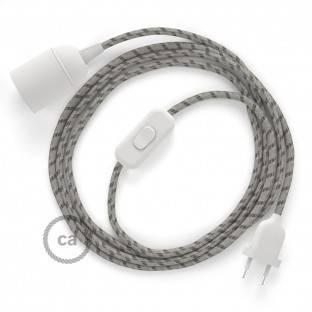 SnakeBis wiring with lamp holder and fabric cable - Stripes Bark RD53