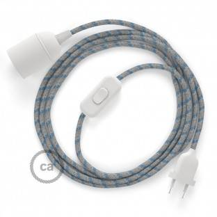 SnakeBis wiring with lamp holder and fabric cable - Stripes Steward Blue RD55