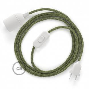 SnakeBis wiring with lamp holder and fabric cable - ZigZag Green Thyme RD72