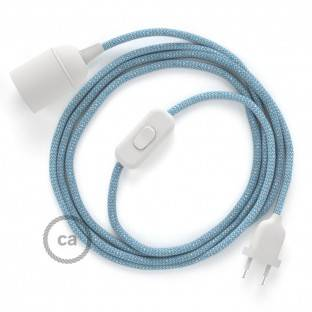 SnakeBis wiring with lamp holder and fabric cable - ZigZag Steward Blue RD75