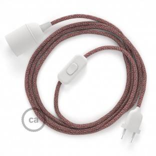 SnakeBis wiring with lamp holder and fabric cable - Red Glittering Natural Linen RS83