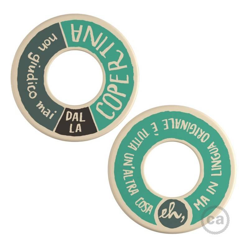 MINI-UFO: reversible wooden disk READING BALLSH*T collection, subject COPERTINA + LINGUA ORIGINALE