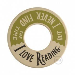 MINI-UFO: reversible wooden disk READING BALLSH*T collection, subject LOVE READING + 2 PAGES