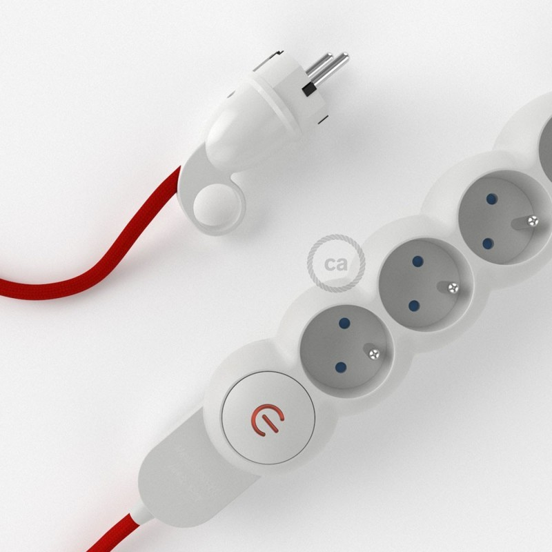 power strip with electrical cable covered by rayon red. Black Bedroom Furniture Sets. Home Design Ideas