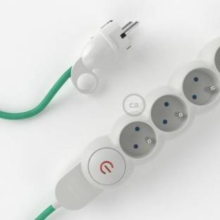 Power Strip with electrical cable covered in rayon Opal fabric RH69 and Schuko plug with confort ring