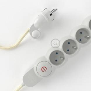 Power Strip with electrical cable covered in rayon Ivory fabric RM00 and Schuko plug with confort ring