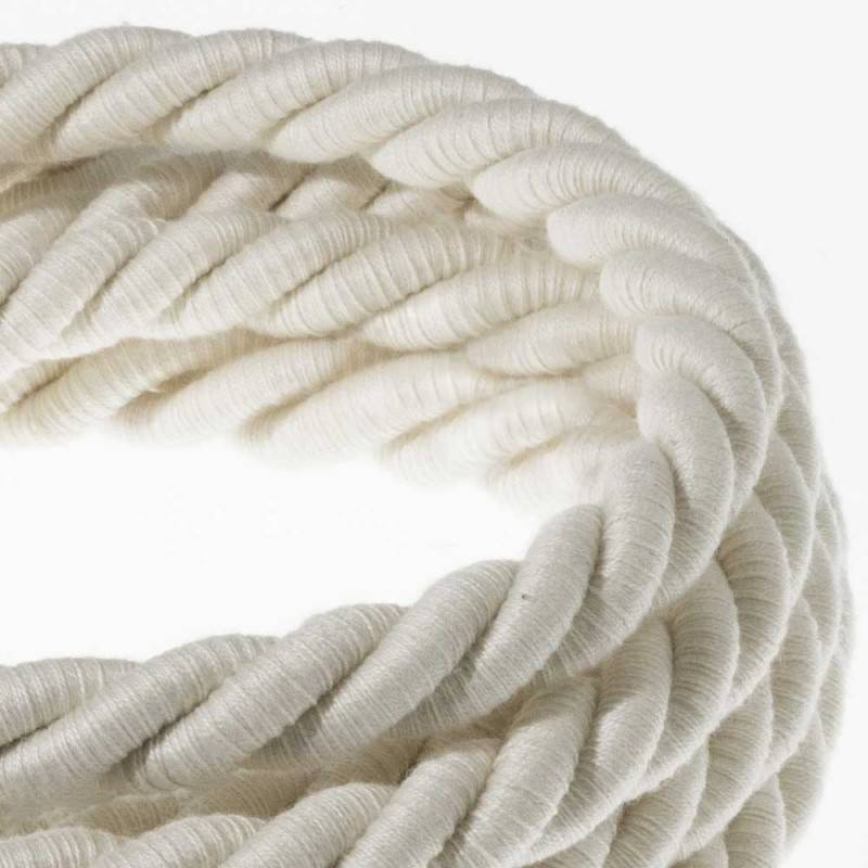XL electrical cord, electrical cable 3x0,75. Raw cotton fabric covering. Diameter 16mm.