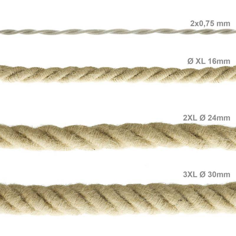 2XL electrical cord, electrical cable 3x0,75. Rough jute fabric covering. Diameter 24mm.