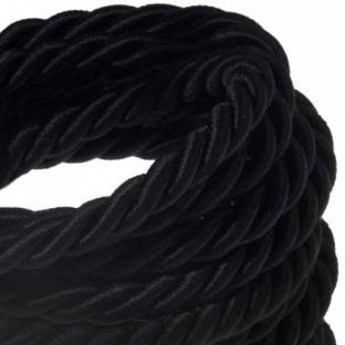 XL electrical cord, electrical cable 3x0,75. Shiny black fabric covering. Diameter 16mm.