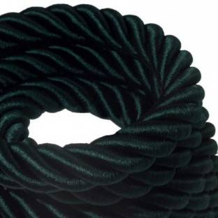 3XL electrical cord, electrical cable 3x0,75. Shiny dark green fabric covering. Diameter 30mm.