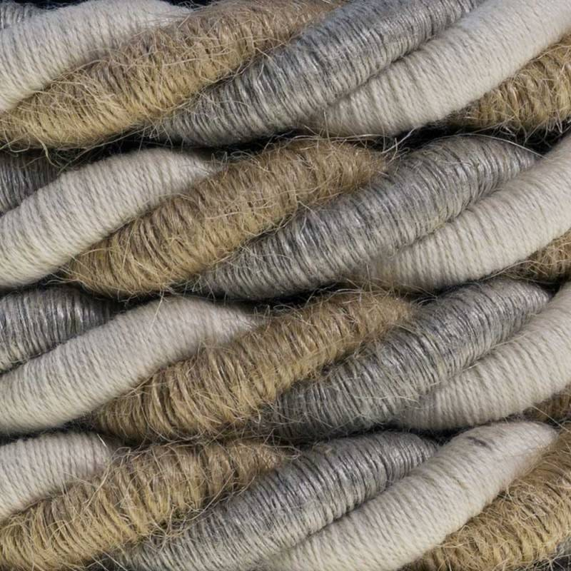 XL electrical cord, electrical cable 3x0,75. Natural linen, cotton fabric and jute covering Country. Diameter 16mm.