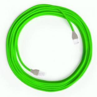 LAN Ethernet Cable Cat 5e with RJ45 plugs - Rayon Fabric RF06 Neon Green